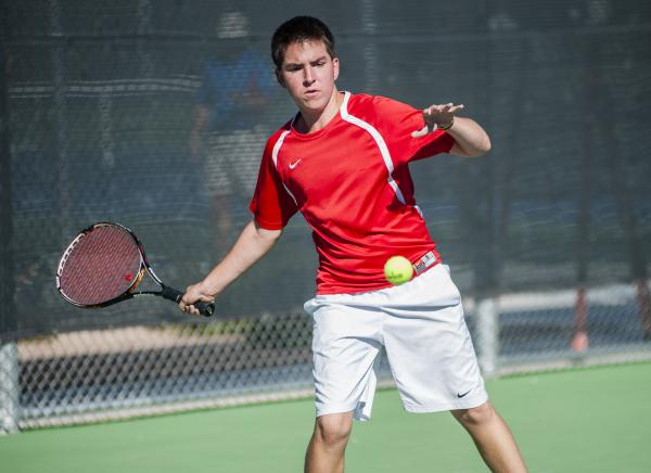 Tech's Christian Valle hits a forehand.