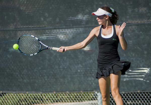 Palo Verde's Annie Walker hits a forehand in the girls singles championship match.