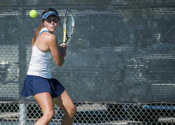 Centennial's McKay Novak prepares to hit a backhand on Saturday.