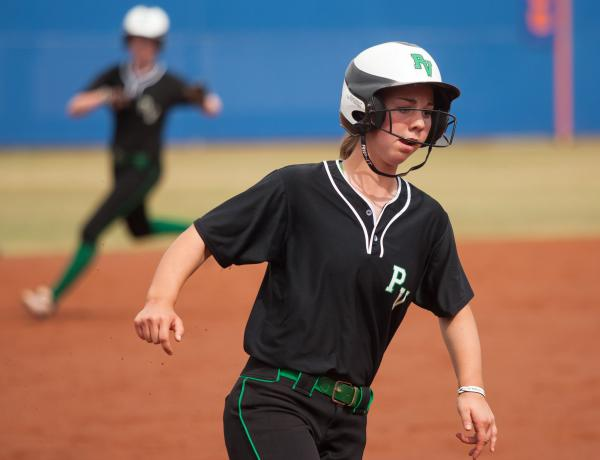 Palo Verde's Kali Tomlinson heads to third base in the second inning on Friday in the Sunset Region title game. The Panthers took an early lead, but fell 13-3 to Centennial.