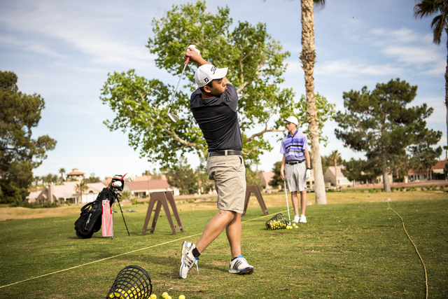 Desert Oasis golf team member Syouta Wakisaka swings during practice at Palm Valley Golf Course in Las Vegas on Wednesday, March 9, 2016. Joshua Dahl/Las Vegas Review-Journal