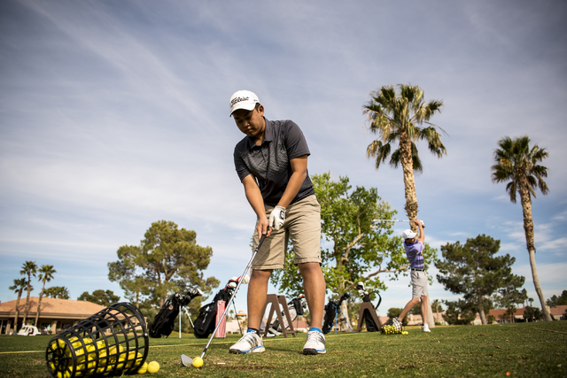 Desert Oasis golf team member Syouta Wakisaka prepares to swing during practice at Palm Valley Golf Course in Las Vegas on Wednesday, March 9, 2016. Joshua Dahl/Las Vegas Review-Journal