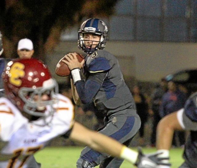 Saint John Bosco's Josh Rosen looks for an open man against Central Catholic earlier this season. The UCLA-bound quarterback is considered the top pocket passer in the senior class. (Tracey Roman/ ...
