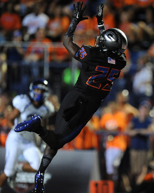 Bishop Gorman wide receiver Tyjon Lindsey catches a touchdown pass against Chandler, AZ in the second quarter of their high school football game at Bishop Gorman High School in Las Vegas Saturday, ...