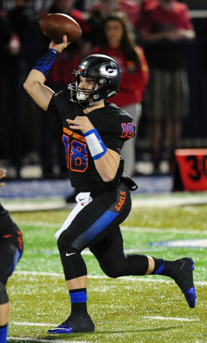 Bishop Gorman quarterback Tate Martell (18) passes against Arbor View in the second half of the NIAA Sunset Region Championship game at Bishop Gorman High School in Las Vegas Monday, Nov. 16, 2015 ...