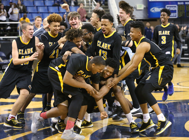 Clark celebrates their 43-39 over Desert Pines in the NIAA Division I-A state basketball championship in Reno, Nev. on Saturday, Feb. 27, 2016. Cathleen Allison/Las Vegas Review-Journal