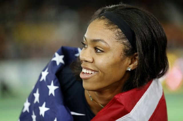 Vashti Cunningham of the U.S. smiles after winning the gold medal in women's high jump during the IAAF World Indoor Athletics Championships in Portland, Oregon March 20, 2016. REUTERS/Mike Blake