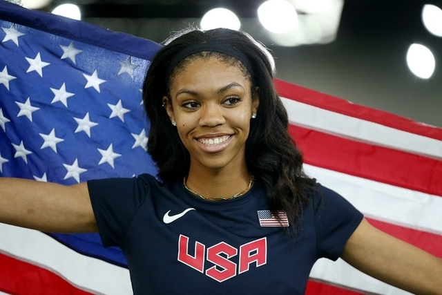 Vashti Cunningham of the U.S. smiles after winning the gold medal in women's high jump during the IAAF World Indoor Athletics Championships in Portland, Oregon March 20, 2016.  (REUTERS/Mike Blake)