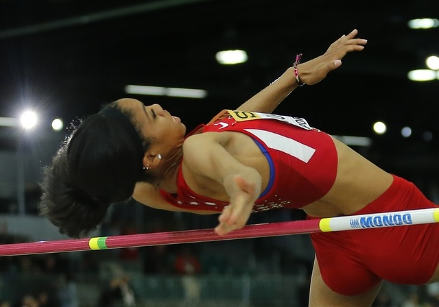 Vashti Cunningham of the U.S. clear the bar on the way to winning the women's high jump gold medal during the IAAF World Indoor Athletics Championships in Portland, Oregon March 20, 2016.  REUTERS ...