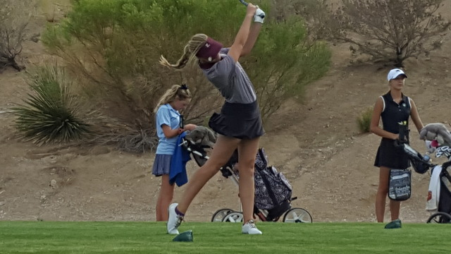 Sydney Smith of Faith Lutheran tees off during the Class 4A Sunset Region girls golf tournament Monday at Siena Golf Club. Smith shot 2-under-par 70 and tied for second. (David Schoen/Las Vegas Re ...