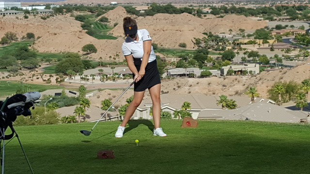 Scout Pope of Tech hit her drive on the 16th tee during the Class 3A Southern Region girls golf tournament on Thursday at Falcon Ridge Golf Course in Mesquite. Pope shot 88 to and finished fifth i ...