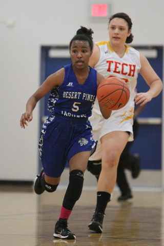 Chrystian Myles (5) brings the ball down the court against Tech in the Lady Wolves Holiday Tournament at Basic on Tuesday. Myles had six points in Desert Pines' 20-7 win. (Erik Verduzco/Las Vegas  ...