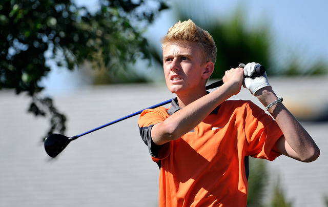 Bishop Gorman's Blake Taylor tees off on the seventh hole during the final round of the Sunset Region tournament on Tuesday. Taylor shot 148 for the two-day tournament to finish tied for fifth. (D ...