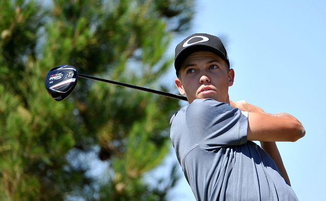 Las Vegas' Trey Jensen tees off during the final round of the Sunrise Region tournament on Tuesday. Jensen finished second with a two-day 150. (David Becker/Las Vegas Review-Journal)