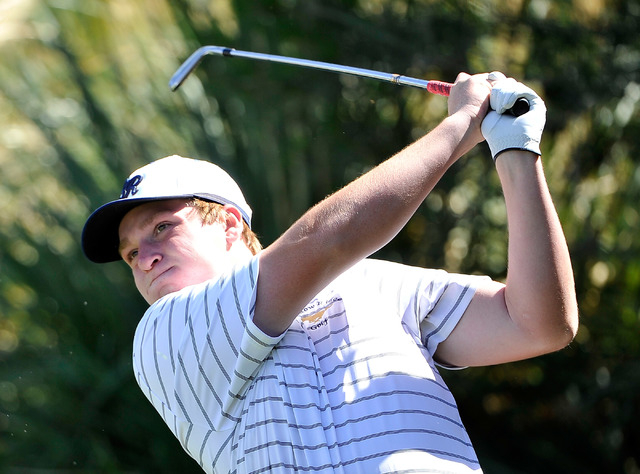 Shadow Ridge's Benjamin Davis tees off on the fourth hole during the final round of the Sunset Region tournament. Davis shot 142 and won the tournament on a two-hole playoff. (David Becker/Las Veg ...