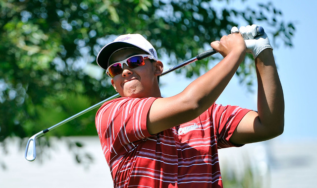 Coronado's Brad Keyer tees off during the final round of the Sunrise Region tournament on Tuesday. Keyer broke par both days, shooting 138 to win the tournament by 12 strokes. (David Becker/Las Ve ...