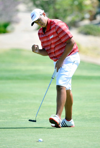 Coronado's Brad Keyer reacts to his putt on the fifth hole during the final round of the Sunrise Region tournament on Tuesday. Keyer shot 138 to win the tournament. (David Becker/Las Vegas Review- ...