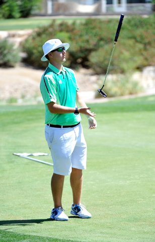 Green Valley's Grayson Savio reacts after missing a putt on the fifth hole during the final round of the Sunrise Region tournament on Tuesday. Savio shot 156 to finish sixth. (David Becker/Las Veg ...