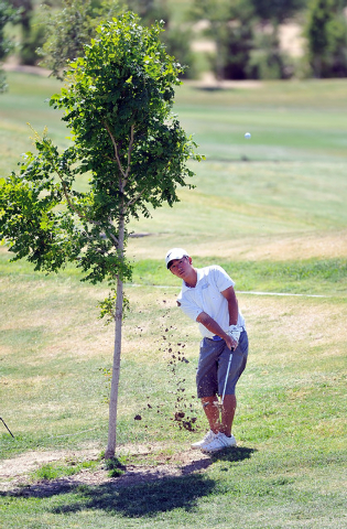 Foothill's Nick Grinder shoots for the fifth hole during the final round of the Sunrise Region tournament on Tuesday. Grinder shot 162 for the two-day tournament to finish 10th. (David Becker/Las  ...