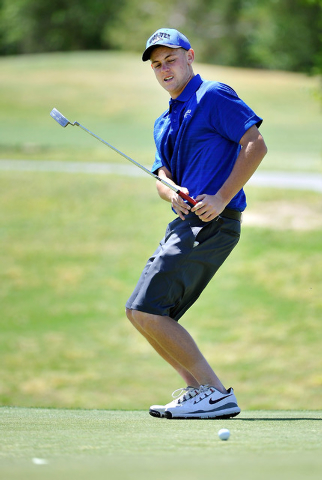 Basic's J.D. Ebert reacts after missing a putt on the fifth hole during the final round of the Sunrise Region tournament on Tuesday. Ebert shot 160 to finish ninth in the two-round tournament. (Da ...