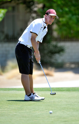 Pahrump Valley's Kyle Steib shoots on the fifth hole during the final round of the Division I-A Southern Region tournament on Tuesday. Steib shot 163 to finish tied for fifth. (David Becker/Las Ve ...