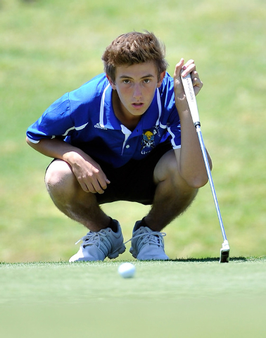 Moapa Valley's Jacob Causey lines up his shot on the fifth hole during the final round of the Division I-A Southern Region tournament on Tuesday. Causey shot 162 to finish fifth. (David Becker/Las ...
