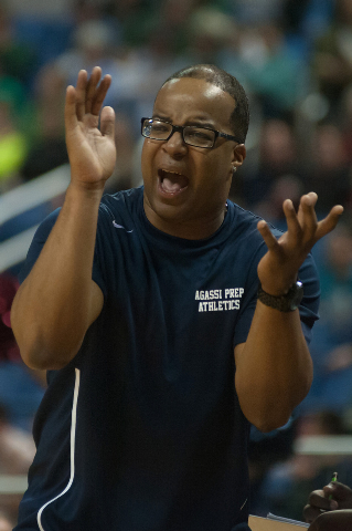 Agassi Prep coach Trevor Diggs cheers on his players during the Division III state final against Incline on Saturday. Agassi defeated Incline 71-60. (Kevin Clifford/Las Vegas Review-Journal)