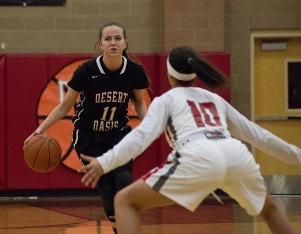 Ashlynn Sharp brings the ball up the floor. (Daniel Clark/Las Vegas Review-Journal)