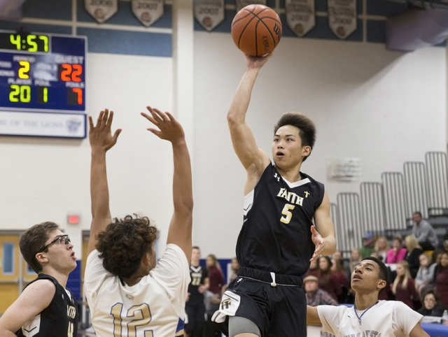 Faith Lutheran's Isaac Ng (5) shoots over Sierra Vista's Maui Sera Josef (12) on Tuesday, Nov. 29, 2016, at Sierra Vista High School in Las Vegas. Benjamin Hager/Las Vegas Review-Journal