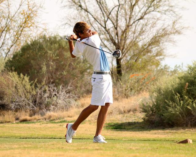 Boulder City golfer Luke Logan follows through. (Laura Hubel/Boulder City Review)