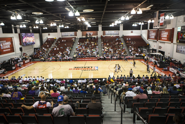 In this July 12, 2016 file photo, fans watch a NBA Summer League game at the Cox Pavilion in Las Vegas. Cox Pavilion will be the primary site for the state high school basketball tournament, which ...