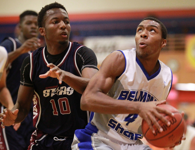 Belmont Shore's Nick Blair (4) drives past Upward Stars' Randall Shaw (10) in the Fab 48 tournament at Bishop Gorman on Thursday. Blair, who will be a senior at Gorman in the fall, has stepped out ...