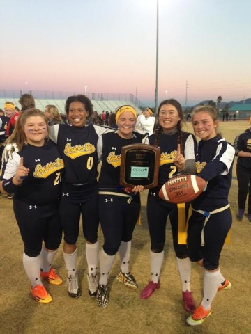 Boulder City players pose after winning the Clark County School District flag football championship, 7-6, at Del Sol on Tuesday. (Ashton Ferguson/Las Vegas Review-Journal)