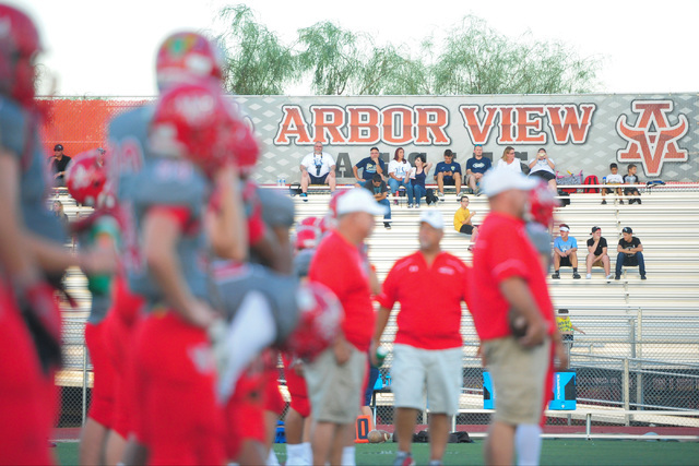 The Arbor View High School football team warms up before the Arbor View High School Foothill High School game at Arbor View in Las Vegas on Friday, Sept. 9, 2016. Brett Le Blanc/Las Vegas Review-J ...