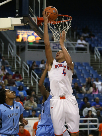 Bishop Gorman's Chase Jeter shoots against Canyon Springs during the Division I state championship game on Friday. Jeter had 21 points, 19 rebounds and four blocked shots as Gorman won the title 7 ...