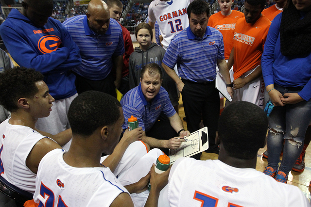 4b41efb824bb Bishop Gorman Head Coach Grant Rice talks to his team during the Division I  championship game