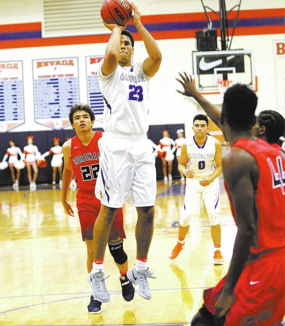 Bishop Gorman's forward Ryan Kiley (23) takes a shot against Coronado during a basketball game at Bishop Gorman High School on Tuesday, Dec. 6, 2016, in Las Vegas. (Rachel Aston/Las Vegas Review-J ...