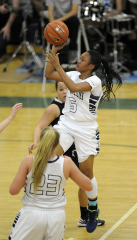 Spring Valley guard Bria Hardin-Davidson (5) goes up for a layup against Faith Lutheran in the first quarter of the Division I-A Southern Region girls basketball championship game at Spring Valley ...