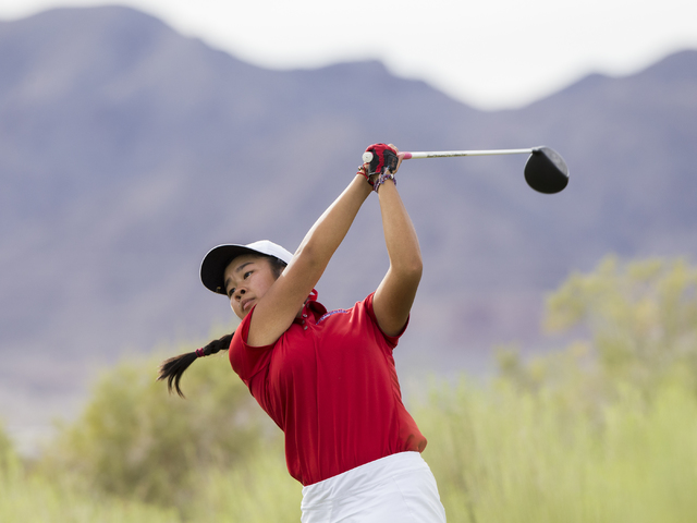 Coronado golfer Ashley Lung drives the ball during the Cougars match with Boulder City  on Monday, Sept. 19, 2016, at Boulder Creek Golf Course, in Boulder City. Benjamin Hager/Las Vegas Review-Jo ...