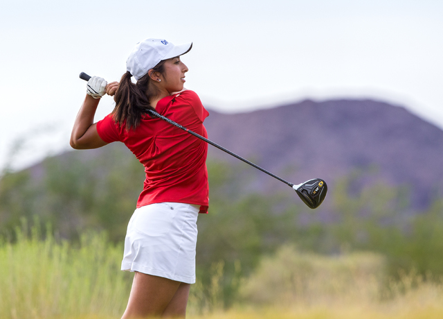 Coronado golfer Victoria Estrada tees off during the Cougars match with Boulder City on Monday, Sept. 19, 2016, at Boulder Creek Golf Course, in Boulder City. Benjamin Hager/Las Vegas Review-Journal