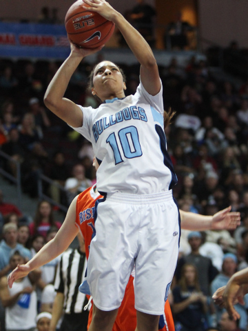 Centennial guard Jayden Eggleston lays in two points against Bishop Gorman during their Division I state championship game Friday, Feb. 27, 2015, at the Orleans Arena. Eggleston had 10 points and  ...