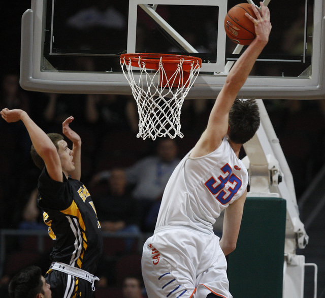 Bishop Gorman center Stephen Zimmerman dunks on Galena guard Dillon Voyles during their Division I state semifinal game Thursday, Feb. 26, 2015, at the Orleans Arena. (Sam Morris/Las Vegas Review- ...