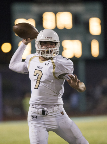 Faith Lutheran quarterback Sagan Gronauer (7) makes a sideline throw during the Crusaders road matchup with the Skyhawks on Friday, Sept. 16, 2016, at Silverado High School, in Las Vegas. Benjamin ...