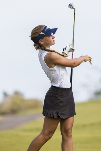Boulder City golfer Lani Potter watches her shot during the Eagles match with Coronado on Monday, Sept. 19, 2016, at Boulder Creek Golf Course, in Boulder City. Benjamin Hager/Las Vegas Review-Journal
