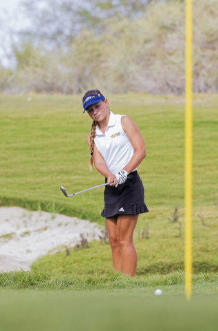 Boulder City golfer Lani Potter chips onto the green during the Eagles match with Coronado on Monday, Sept. 19, 2016, at Boulder Creek Golf Course, in Boulder City. Benjamin Hager/Las Vegas Review ...