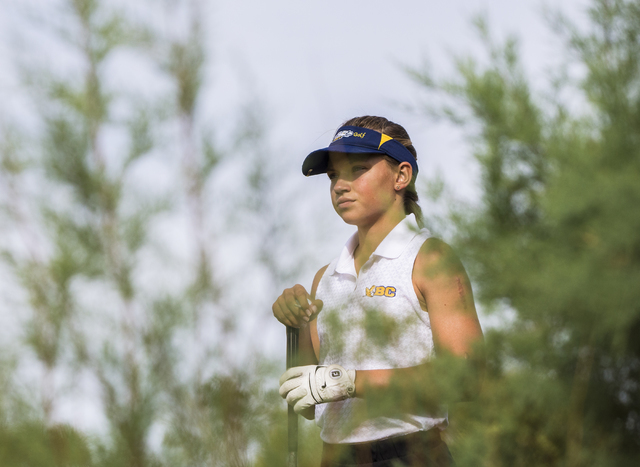Boulder City golfer Lani Potter scans the fairway before making her drive during the Eagles match with Coronado on Monday, Sept. 19, 2016, at Boulder Creek Golf Course, in Boulder City. Benjamin H ...