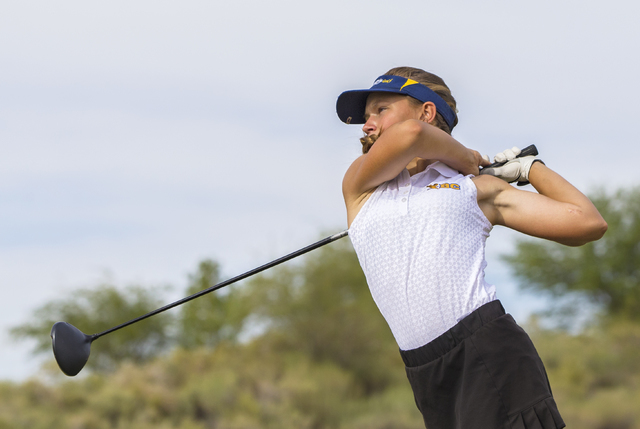 Boulder City golfer Lani Potter follows through on her drive during the Eagles match with Coronado on Monday, Sept. 19, 2016, at Boulder Creek Golf Course, in Boulder City. Benjamin Hager/Las Vega ...