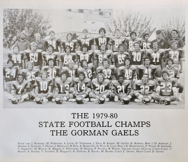 A yearbook photo featuring the Bishop Gorman High School state football champions from 1979 is shown at the home of Dave Gerber in Sun City Anthem in Henderson on Thursday, Sept. 25, 2014. Gerber  ...