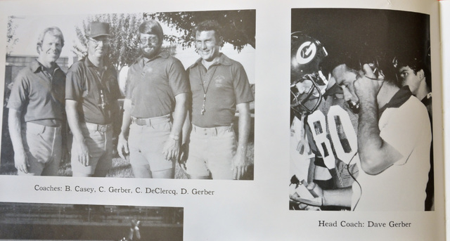 Dave Gerber is shown in yearbook photos from his years as head coach in the 1970s at Bishop Gorman High School on Thursday, Sept. 25, 2014. Gerber was head coach at Bishop Gorman from 1973 to 1979 ...