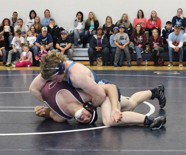 Centennial's Hunter Brown works his opponent from Cimarron-Memorial, during Saturday's 195-pound match of the Gold Bracket consolation round in the Mustang Stampede. (W.G. Ramirez/Las Vegas Re ...